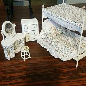 Wicker dollhouse bedroom set